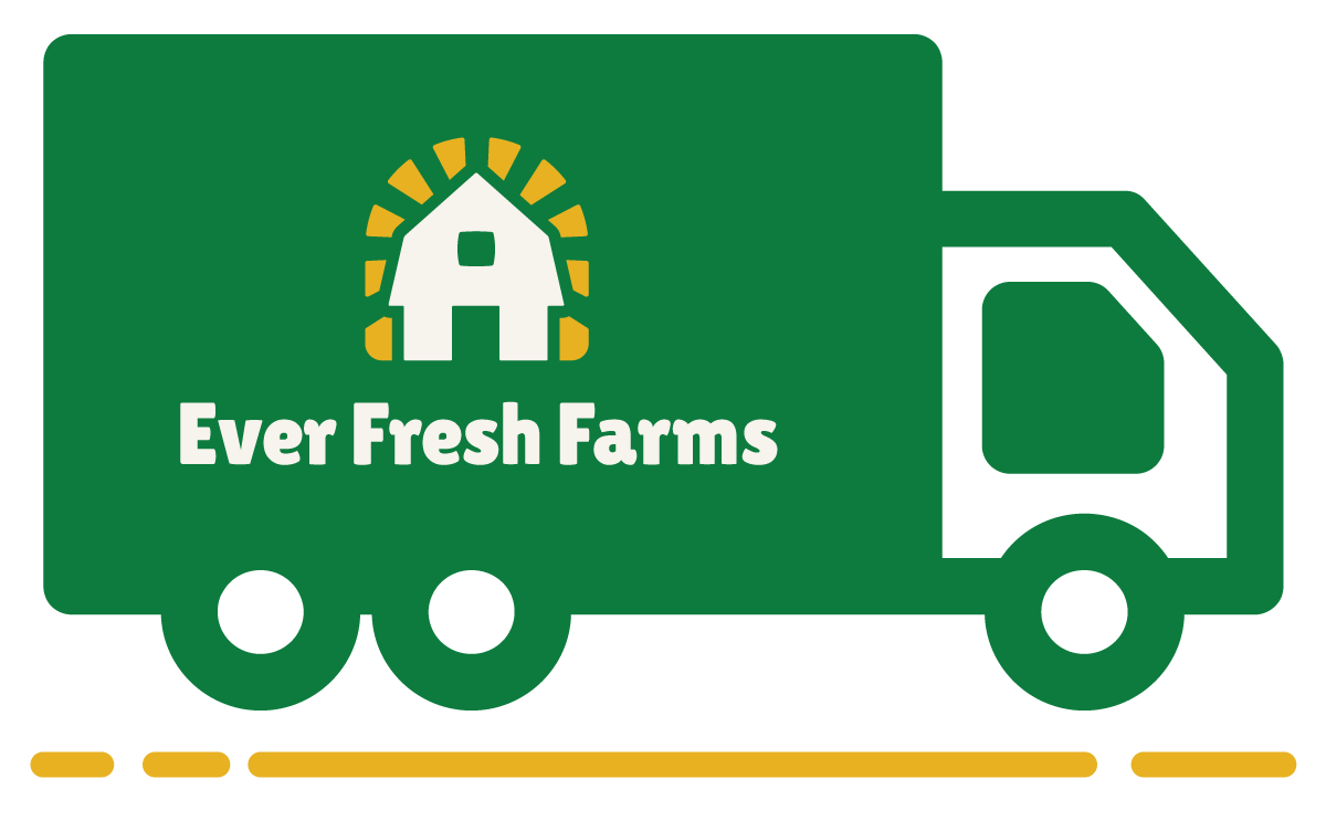 Ever Fresh Farms branded graphic of a green food truck with a barn on the side, representing delivery to the Baltimore area.