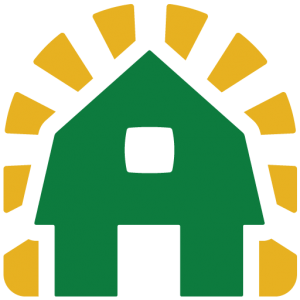 Graphic of a green barn with yellow sunbeams representing Ever Fresh Farms in Maryland.